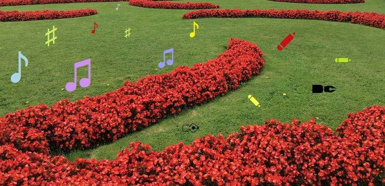 Home picture showing musical notes in a garden